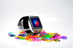 Digital watch. For sync a mobile Royalty Free Stock Photos