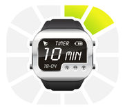 Digital watch timer 10 minutes. Vector illustration isolated on white background Royalty Free Stock Image