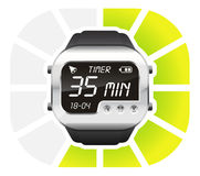 Digital watch timer 35 minutes. Vector illustration isolated on white background Royalty Free Stock Photography