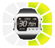 Digital watch timer 30 minutes. Vector illustration isolated on white background Stock Photo