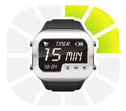 Digital watch timer 15 minutes. Vector illustration isolated on white background Royalty Free Stock Photo