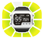 Digital watch timer 55 minutes. Vector illustration isolated on white background Royalty Free Stock Photos