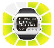 Digital watch timer 50 minutes. Vector illustration isolated on white background Royalty Free Stock Image