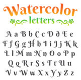 Digital watercolor alphabet set Stock Photo