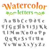 Digital watercolor alphabet set Stock Photo