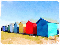 Digital watercolor of beach huts. Digital watercolor of a row of colorful beach huts on a sunny day Stock Photography