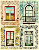 Digital watercolor of windows in Portugal with tiles Stock Image