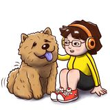 Girl sitting with a chow chow dog - isolated version. Digital watercolor illustration of a girl sitting and petting her chow chow dog. Isolated in white Stock Images