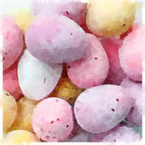 Digital watercolor of mini chocolate eggs sugar coated candy Royalty Free Stock Images