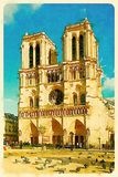 Digital watercolor of Notre-Dame-de-Paris in France. Digital watercolour of pigeons in front of Notre-Dame-de-Paris with a frame in Paris, France Royalty Free Stock Images