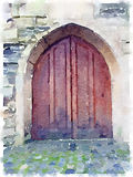 Digital watercolor of an old wooden cathedral door Royalty Free Illustration