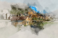 Digital watercolor painting of Baume-les-Messieurs village Stock Images