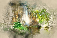 Digital watercolor painting of a beautiful waterfall. Plitvice Lakes National Park in Croatia vector illustration