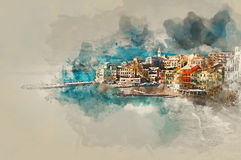 Digital watercolor painting of Bogliasco. Italy Royalty Free Stock Photo
