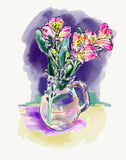 Digital watercolor painting of flower,  vector illustration Royalty Free Stock Image