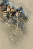 Digital watercolor painting of Gordes village. France Royalty Free Stock Photography