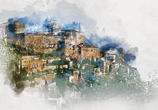 Digital watercolor painting of Gordes village. France Royalty Free Stock Image