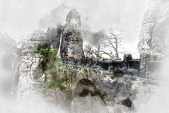 Digital watercolor painting of an old Bastei Bridge. Germany Stock Photo