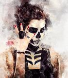 Woman with skeleton face art stock illustration