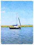 Digital watercolor of a sailboat at anchor. A digital watercolor of a sailboat at anchor. Space for text Royalty Free Stock Photo