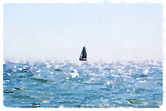 A digital watercolor of a sailing boat at sea. A digital watercolor painting of a sailing boat at sea with space for text Royalty Free Stock Images