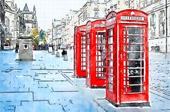 Watercolor of 3 red phone boxes in a street Stock Photography