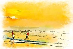 Watercolor of windsurf in ocean at sunset Royalty Free Stock Photography