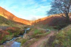 Digital-Watercolour eines herbstlichen Wasserfalls und des Steinpackpferds stock abbildung