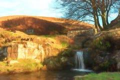 Digital-Watercolour eines herbstlichen Wasserfalls und des Steinpackpferds