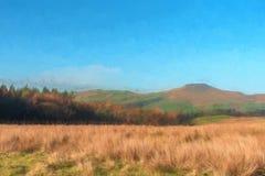 A digital watercolour image of Shutlingsloe Hill in the Peak District National Park royalty free illustration
