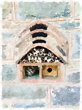 Digital watercolour of an insect and bee house. Digital watercolor of an insect house, bug hotel, ladybird and bee home used for nesting and winter accommodation Stock Illustration