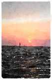 Digital watercolour painting of a sailboat sailing into the suns. Et leaving Calais in France and heading to England Royalty Free Stock Photos