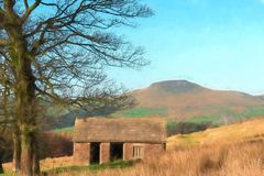Digital watercolour of Shutlingsloe Hill in the Peak District National Park. A digital watercolour of a small abandoned hut and the view to a distant vector illustration