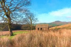 Digital watercolour of Shutlingsloe Hill in the Peak District National Park. A digital watercolour of a small abandoned hut and the view to a distant stock illustration