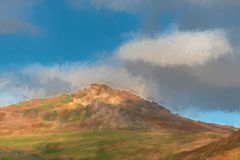 Digital watercolour of sun lighting the heather and rocks at the royalty free stock photography