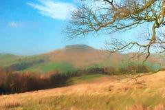 A digital watercolour of Shutlingsloe Hill in the Peak District National Park. A digital watercolour view to a distant Shutlingsloe hill in Cheshire, Peak royalty free illustration