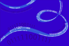 Digital wave. Composition of digits along the wavy lines stock illustration