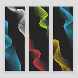 Digital wave, sound equalizer. Colorful abstract set of banners on black background Royalty Free Stock Photo