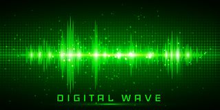 Digital wave, Sound waves oscillating glow light, Abstract technology background - Vector vector illustration
