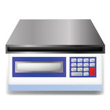 Digital weighing scale. Illustration  with digital weighing scale on white  background Stock Photo