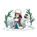 Digital-Weihnachtsillustration mit netten Kaninchen eines kleinen Mädchens zwei und einem Schneemann stockfotos