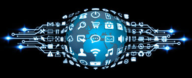 Digital-Welt mit Netzikonen Stockbilder