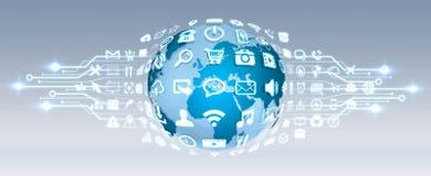 Digital-Welt mit Netzikonen Lizenzfreie Stockfotos
