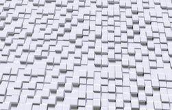 Three-dimensional raised blocks texture background, 3D rendering. Digital white background textured with three-dimensional cube shapes rendered in 3D Stock Photos