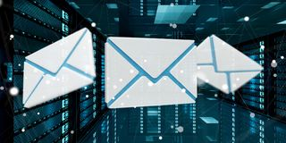 Emails flying over server room data center 3D rendering Stock Photography