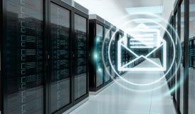 Emails exchange over server room data center 3D rendering Stock Images