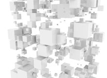 Digital white metallic cubes Royalty Free Stock Images
