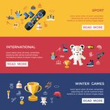 Digital  winter games objects color. Simple flat icon set collection Stock Photo
