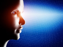 Digital, wireframe human profile face portrait. On blue, technological background Stock Photography