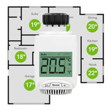 Digital Wireless Radiator Thermostatic Valve as Climate Control. System with Home Plane on a white background. 3d Rendering Stock Photo